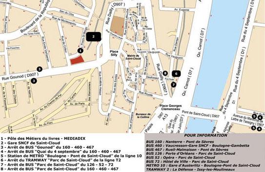 Accés et plan de Saint-Cloud